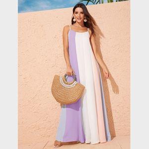 Pastel Color Block A-line Maxi Cami Dress